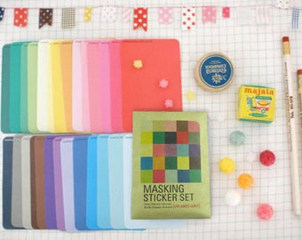 27 Sheets Korea Pretty Masking Sticker Set - Colorful Sticker Set -Solid Color Ver