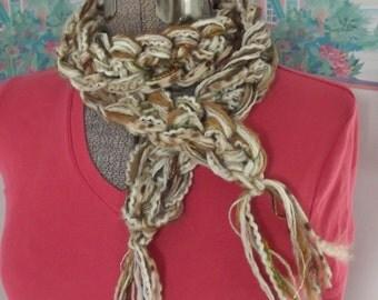 Crochet Scarf Boa Cream Toffee Caramel Butterscotch Chocolate Rich Neutral Tones Headband Fiber Necklace