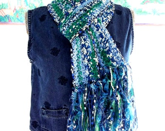 Handmade Crochet Skinny Scarf Blue Green White Lightweight Fashion Scarflet Fringe