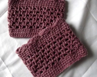Crochet Boot Cuffs, Legwarmers, Pink, Dusty Rose, Wear inside or outside your Boots, Tattoo Covers