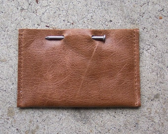 Brown Leather Nail Business Card Holder