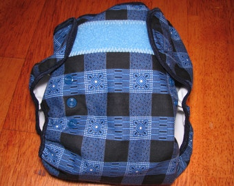 blue plaid adjustable cloth diaper cover, waterproof PUL, large