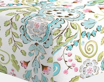 Girl Baby Crib Bedding: Love Bird Damask Crib Sheet by Carousel Designs