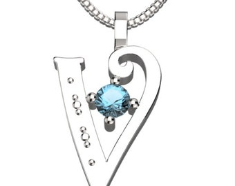 "BirthStone Letter V March Aquamarine 925 Solid Sterling Silver Pendant &18"" Necklace"