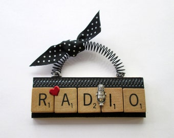 Radio Heart Radio Scrabble Tile Ornament