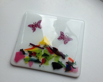 Fused glass coaster with butterflies and glass confetti