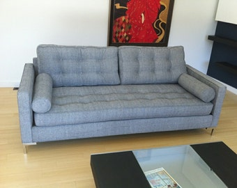 Mid Century Florence Knoll Style Button Tufted 3 seat Sofa Modern and Contemporary Couch. Custom BENCH-MADE in USA!