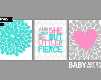 Turquoise and Pink Nursery canvas art, Set of 3 8x10. Though she is but little she is fierce, Heart ( S810240 )