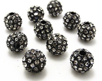 10Pcs 8mm Black Metal Gun Color Crystal stones Pave Disco Ball Rhinestone Bead Loose Spacer Beads Findings