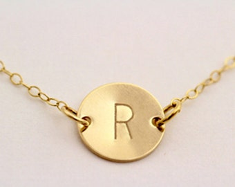 Charm necklace Personalized Gold Disc Necklace Initial Monogram Bridesmaids gift Mothers Mommy Grandma Jewelry