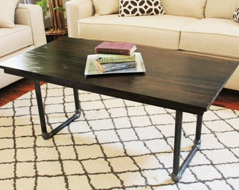 "Steel and Pine Wood Coffee Table - 48""L x 24""w x 22""h"