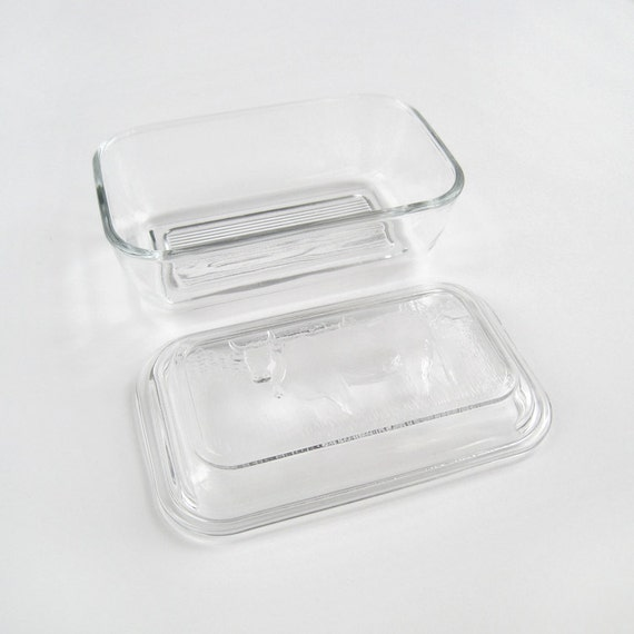 glass butter dish with cow design lid french vintage retro