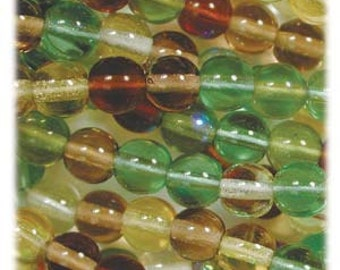 Druk Round Czech Beads, 6mm, 8mm, Earth Tones, Greens, 50 Beads, One Strand, Mix Color, Glass, Smooth Round, Value, Sale