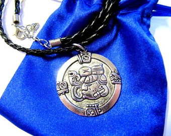 Mayan Pendant Charm, Mayan Glyph, Pendant, Totem, Necklace, Faux Leather Cord, Gift, Satin Pouch #1