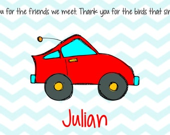 Personalized Placemat - Kids Placemat - Childrens Placemat - Childs Placemat - Laminated Placemat - Baptism Gift - Godparent Gift - Race Car