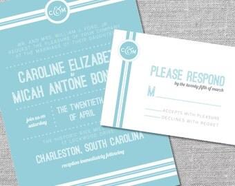 Printable Wedding Invitation and Reply Card   5x7/3.5x5