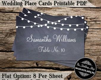 String Lights On Chalkboard DIY Wedding Place Cards Printable PDF