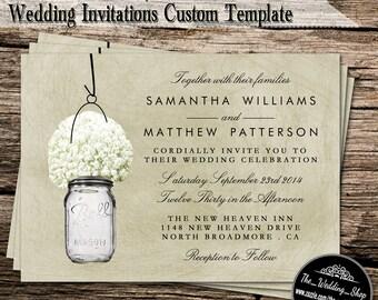"5"" x 7"" Printable DIY Wedding Invitations- Rustic Baby's Breath & Mason Jar"