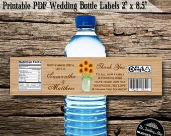 "Instant Download- Sunflowers & Mint Mason Jar Rustic Wedding DIY Printable PDF Bottle Labels (5 Labels Per 8.5"" x 11"" Sheet)"