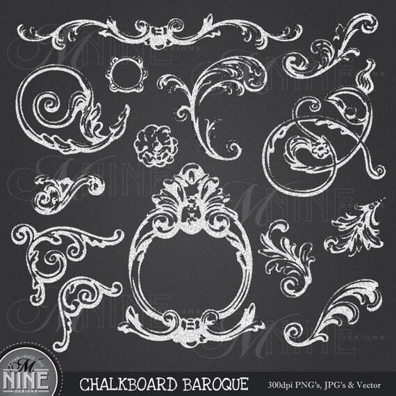 Chalkboard baroque clipart design elements digital clipart for Baroque design elements