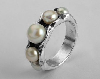 Cream Pearl Ring - 925 Sterling Silver Ring, Pearl Jewelry, Mother Daughter Jewelry, Best Friend Ring, Gift For Mom, Sister Rings, Free Ship