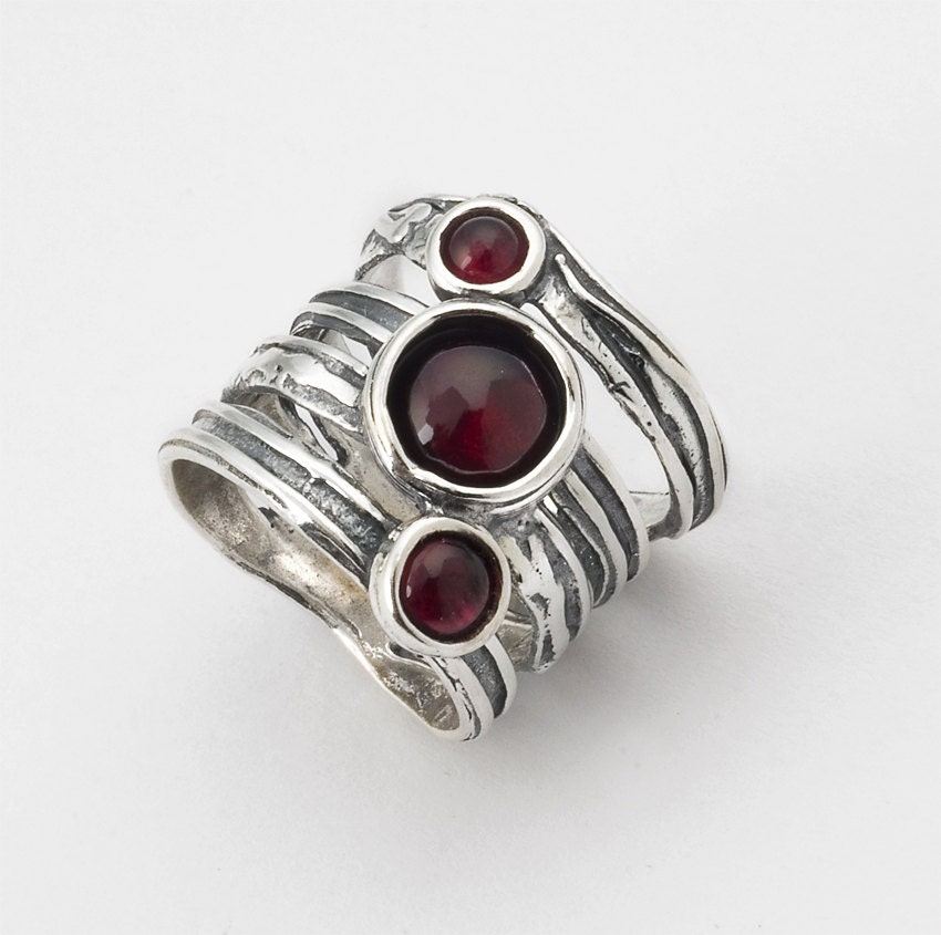 Garnet Ring Shablool Didae Sterling Silver Ring Red Etsy