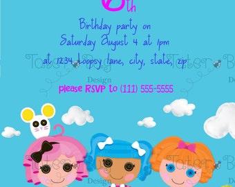 Invitación de cumpleaños de lalaloopsy (personalizado archivo Digital solamente)