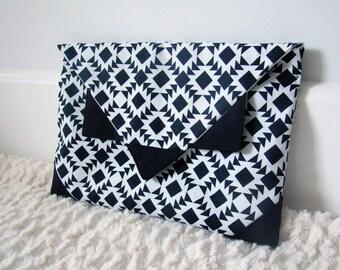 Aztec Clutch Bag / Tribal Purse / Monochrome Handbag - Handmade by FallFellFallen