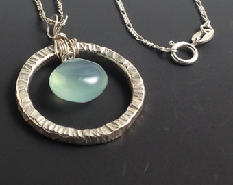 Fused Fine Silver Necklace with Chalcedony Briolette on Sterling Silver Chain