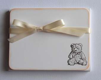 Set of 10 Flat Note Cards / Stationery - Teddy Bear