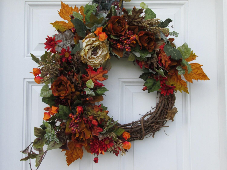 Fall wreath autumn decor wreath harvest wreath thanksgiving wreath interior decor wreath etsy - Thanksgiving decorations on sale ...