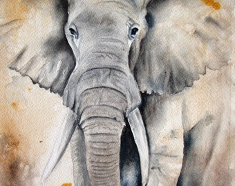 ELEPHANT Watercolor Painting Giclee Print from my Original Watercolor Painting  Home Decor 8x10 Watercolor painting elephant wall decor