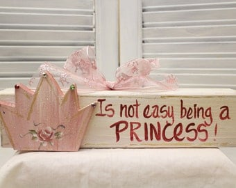 Girls Princess Crown Hand Painted Wood Sign