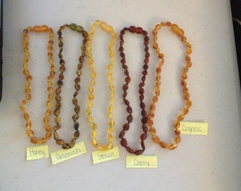 Baltic Amber necklace Adult Bean RAW / Unpolished