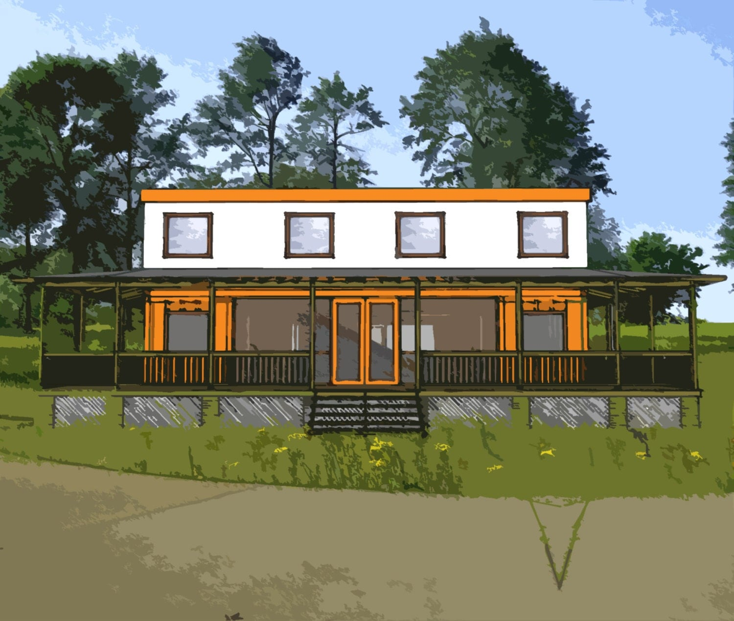 Shipping Container Home Plans 4 Bed 4 Bath Schematic Design