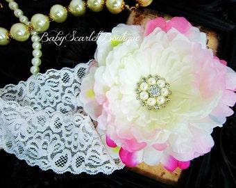 Large White Peony Flower Baby Headband,Girl Headband