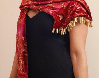 Silk rayon velvet scarf, unique gold edging.