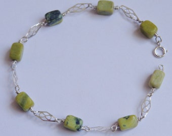 Sterling Silver & Yellow Turquoise Bracelet