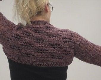 Hand knit woman's lilac mauve wool shrug bolero