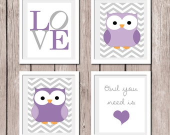 "INSTANT DOWNLOAD - Set of 4 Prints Purple - Owl Love - Printable Nursery Wall Art Print 8""x10"" (jpeg file) Bedroom Decor"