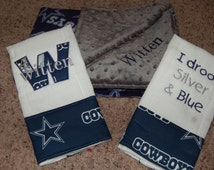 Dallas Cowboys baby shower gift set w/ double sided fleece and minky blanket and 2 custom personalized burp cloths
