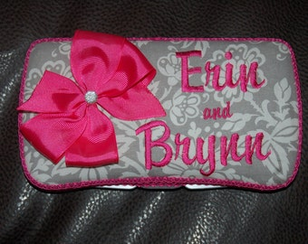 Custom gray and hot pink Huggies travel wipe case PERSONALIZE it by adding a name or bow. Pick your accent color