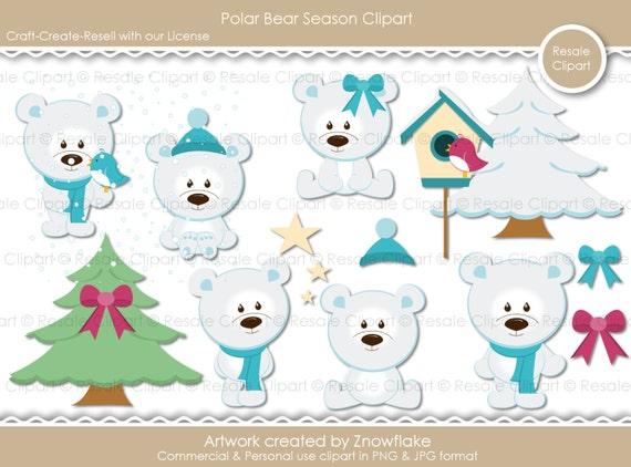 Cute Polar Bear Season Digital Clipart for Commercial