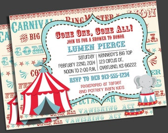 Circus Baby Shower invitation, Carnival Baby Shower, Big Top, Gender Neutral Baby Shower, Red white and blue, DIY Printable