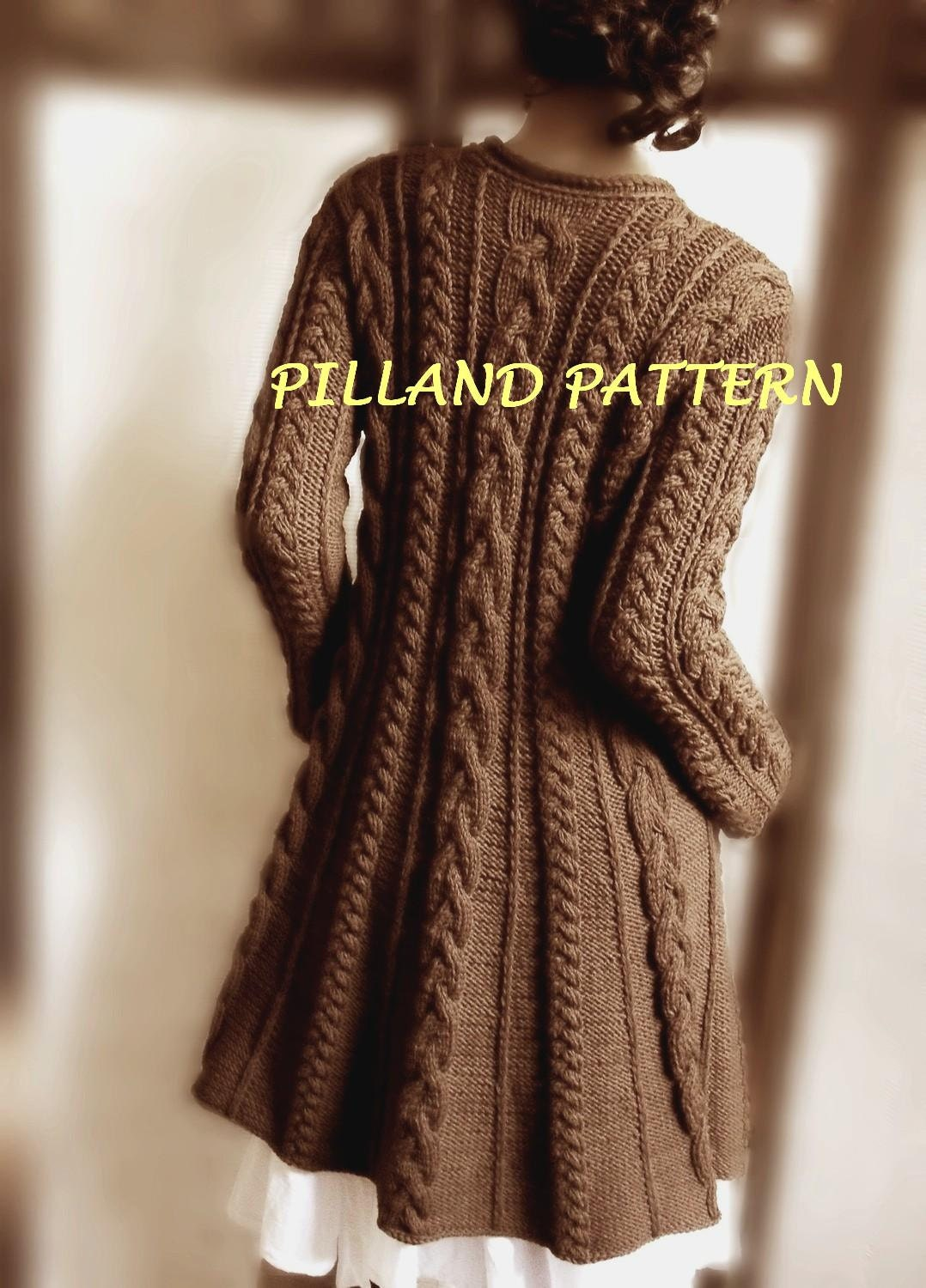 Knitting Pattern For A Long Cardigan : Sweater Coat knitting pattern PDF Cable knit A line coat