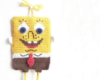 Pot Holder SpongeBob - knitting - Yellow - Brown - Red
