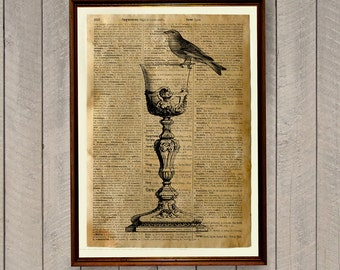 Dining room decor Wine glass print Tableware poster Dictionary page WA385