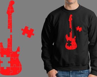 Guitar Puzzle Music Jersey Fleece Sweatshirt Sweater