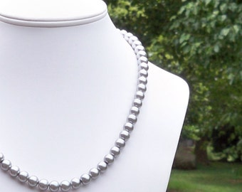 Maura - 8mm Round Silver Gray Glass Pearl Necklace