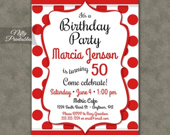 Red Birthday Invitations - Red White Polka Dot Birthday Invitations - Teen Tween Adult Birthday Invites - Red Birthday Party